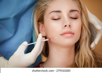 Beauty woman botox injections. Treatment with botox hyaluronic collagen HA injection. Cosmetology and beauty. Woman in beauty salon. plastic surgery clinic.