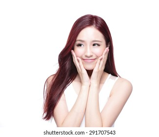 Beauty woman with charming smile and look to something empty copy space, she has health skin, and hair isolated on white background, asian beauty
