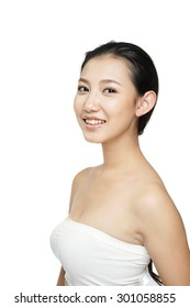 Beauty woman with charming smile to you with health skin, teeth and hair on white background, asian beauty