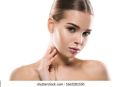 Beauty woman clean fresh skin natural fashion make up clean healthy skin