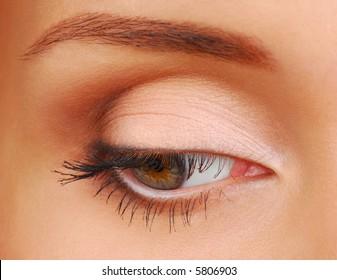 Beauty woman eye looking down
