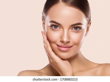 Beauty woman eyes face healthy pure  skin natural make up fresh beauty model young spa beautiful female