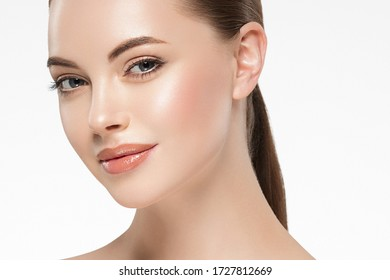 Beauty woman face clean healthy skin natural make up isolated on