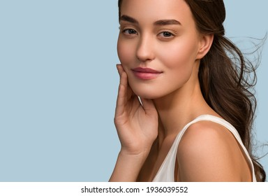 Schönheit Frau Gesicht, Nahaufnahme gesunde Hautpflege weibliche schöne Gesicht