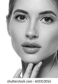 Beauty woman face closeup black and white