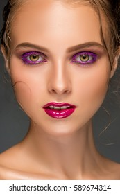 Beauty woman face closeup isolated on black background. Beautiful