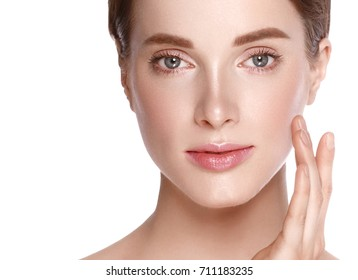 Beauty Woman face  with hand Portrait. Beautiful model Girl with Perfect Fresh Clean Skin color lips purple red. Blonde brunette short hair Youth and Skin Care Concept. Isolated on a white background