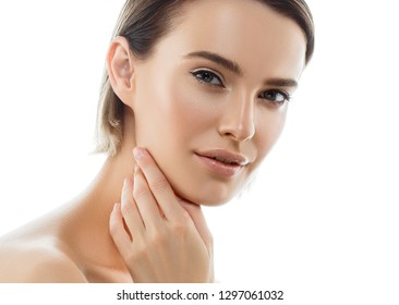 Beauty Woman face with hands. Portrait. Beautiful Spa model Girl with Perfect Fresh Clean Skin. Female looking at camera and smiling. Youth and Skin Care Concept