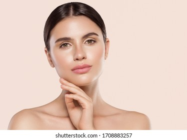 Beauty woman face healthy skin natural make up fresh beauty model young spa beautiful female