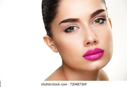 Beauty Woman Face Isolated on White with Copy-space. Wellness and Beauty Concept
