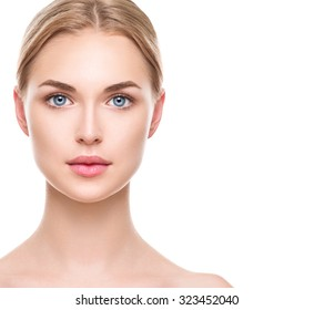 Beauty Woman face Portrait. Beautiful Spa Girl looking at camera and smiling. Blonde model female with Perfect Fresh Clean Skin. Youth and Skin Care Concept, Isolated on a white background