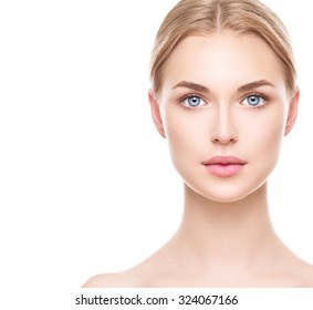 Beauty Woman face Portrait. Beautiful Spa model Girl with Perfect Fresh Clean Skin. Blonde female looking at camera and smiling. Youth and Skin Care Concept. Isolated on a white background