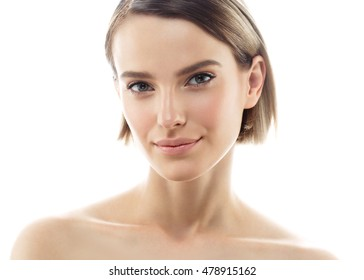 Beauty Woman face Portrait. Beautiful Spa model Girl with Perfect Fresh Clean Skin. Blonde female smiling. Youth and Skin Care Concept.