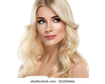 Beauty Woman face Portrait Beautiful Spa model Girl with Perfect Fresh Clean Skin. Blonde model smiling nude makeup Youth and Skin Care Concept. Isolated on a white background