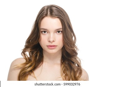 Beauty Woman face Portrait. Beautiful Spa model Girl with Perfect Fresh Clean Skin. Female looking at camera and smiling. Youth and Skin Care Concept , Girl with pure fresh skin.