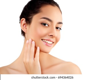 Beauty Woman face Portrait. Beautiful model Girl with Perfect Fresh Clean Skin hands touching face.