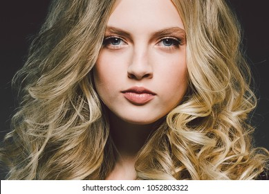Beauty Woman face Portrait Beauty Spa model Girl with Perfect Fresh Clean Skin. Shampoo curly long beauty hair concept