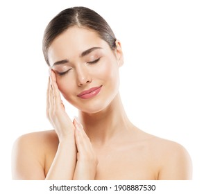 Beauty Woman Face Portrait. Spa Model Clean Fresh Skin Care. Perfect Facial and Hand Nails Treatment. Isolated White