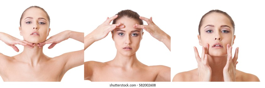 Beauty woman face Self-massage step by step