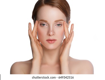 Beauty Woman face skin healthy clean make-up. Youth and Skin Care Concept. Isolated on a white background