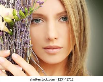 Beauty - woman face, spring makeup