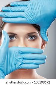 Beauty Woman face surgery close up portrait. Female model.