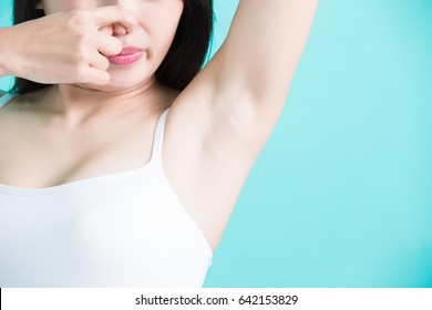 beauty woman feel bad with body odor problem