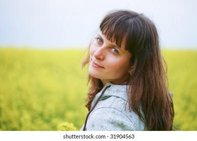 Beauty woman in flower field