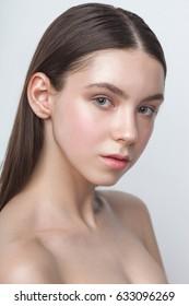 beauty woman head and shoulders portrait, clear shiny skin