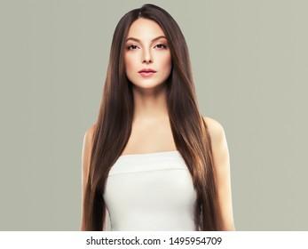 Beauty woman healthy skin concept natural makeup beautiful model girl face