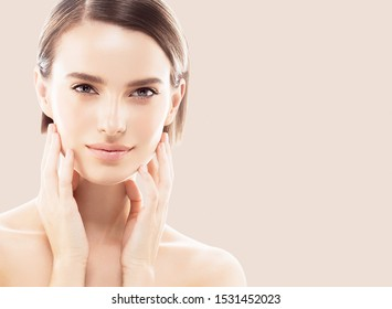 Beauty woman healthy skin and hair close up face