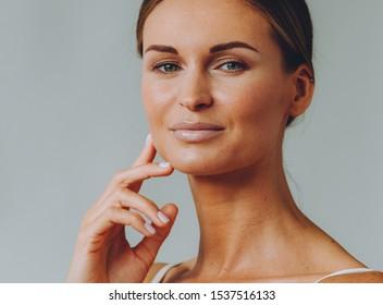 Beauty woman healthy skin natural make up face close up