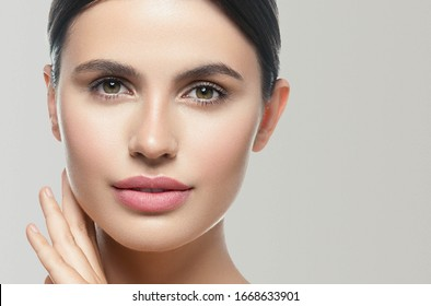 Beauty woman healthy skin natural make up young beautiful model cosmetic concept
