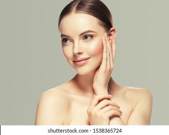 Beauty woman healthyskin care close up face macro beautiful girl model