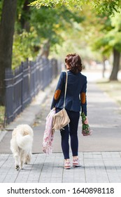 Beauty woman with her dog playing outdoors. Woman walking Labrador Retriever in the park. Girl with dog on the street
