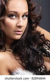 Beauty woman in lingerie close-up portrait