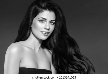 Beauty Woman long black hair. Beautiful Female model Girl with black and white