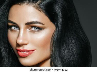Beauty Woman long black hair. Beautiful Female model Girl
