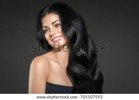 beauty woman long black hair beautiful stock photo edit