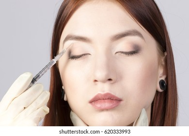 Beauty woman make injections in skin face