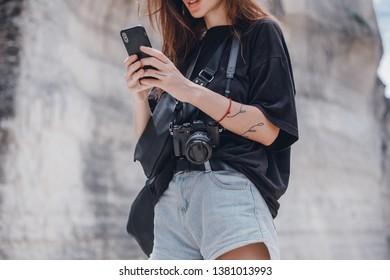 Beauty woman make selfie on smartphone, outdoor hipster portrait, Bali