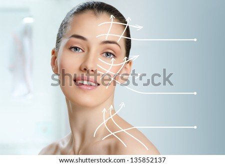 beauty woman on the bathroom background