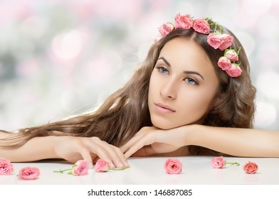 beauty woman on the blur background