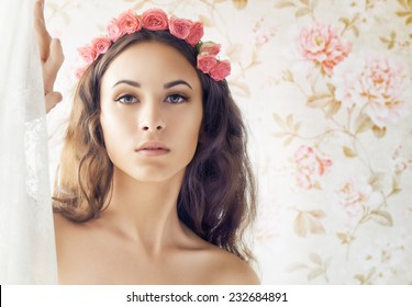beauty woman on the flower background