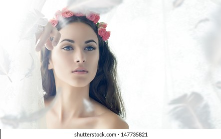 beauty woman on the white background