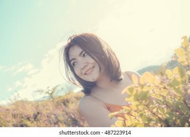 Beauty woman outdoor,backlit