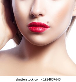Beauty Woman partial face. Perfect Fresh Clean Skin. Female red lipstick