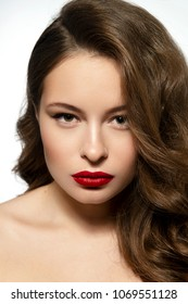 beauty woman with perfect red lips