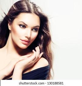 Beauty Woman portrait with long hair. Beautiful Brunette Girl. Natural Beauty