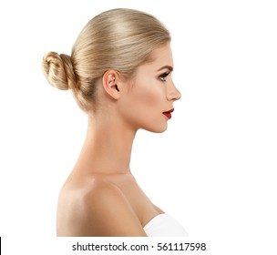 Beauty Woman Profile face Portrait Beautiful Spa model Girl with Perfect Fresh Clean Skin. Blonde model smiling red lips makeup Youth and Skin Care Concept. Isolated on a white background